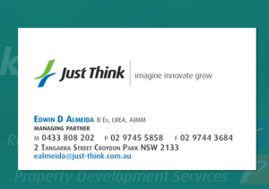 Just Think business card front